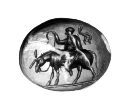 Intaglio gem, Satyr Silenos riding on an ass