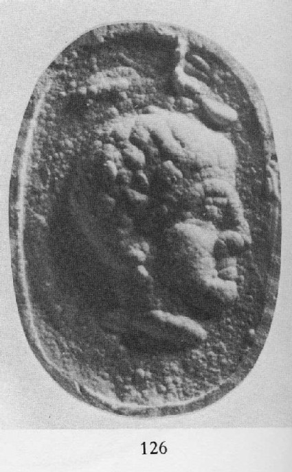 Scaraboid sealstone, head of a youth
