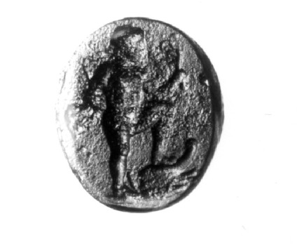 Intaglio gem, Poseidon with foot resting on prow of ship