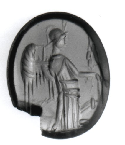 Intaglio gem, syncretistic goddess with attributes of Athena, Demeter, Nike and Tyche