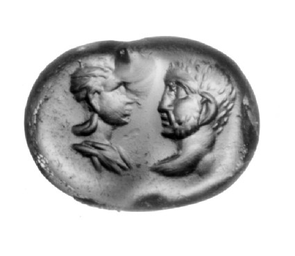Intaglio gem, portrait heads, male and female
