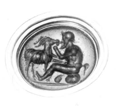 Intaglio gem, satyr with goat