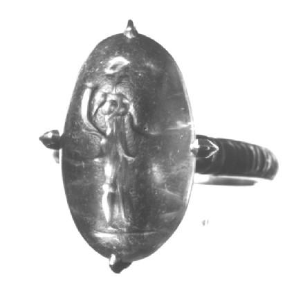 Intaglio gem in finger-ring, Tyche holding cornucopia and steering oar