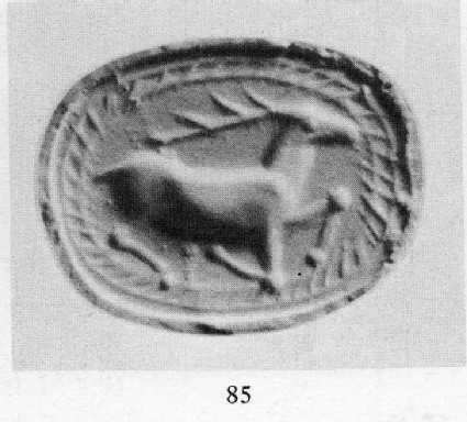 Scaraboid sealstone depicting a running stag