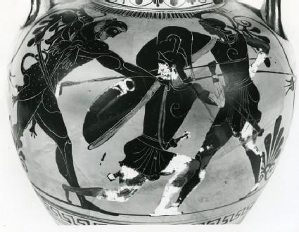Attic black-figure pottery neck-amphora depicting a mythological scene