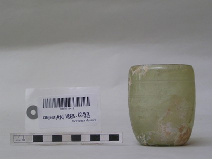Glass beaker, greenish