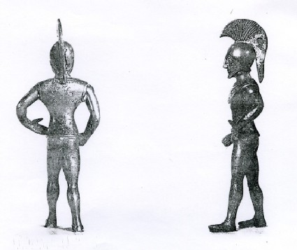 Bronze figurine of warrior with Corinthian helmet