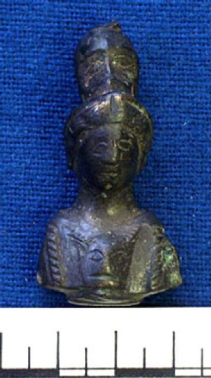 Bronze knife handle in form of Minerva with Gorgon head