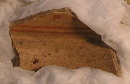 Fragment of shallow bowl with red line decoration