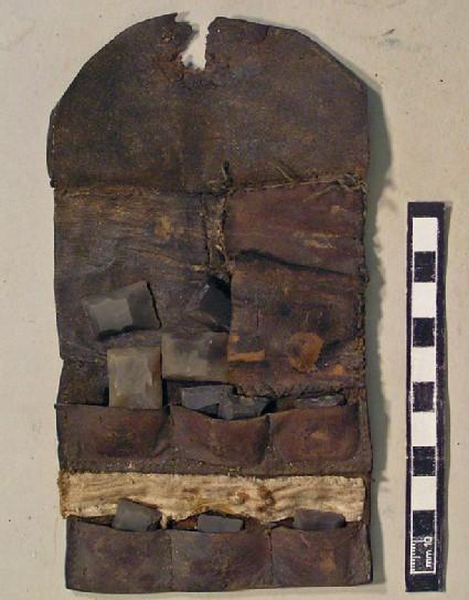 Leather wallet and gun flints