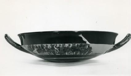 Large Attic black-figure pottery stemmed cup fragment