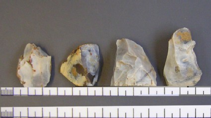 Four small flint cores