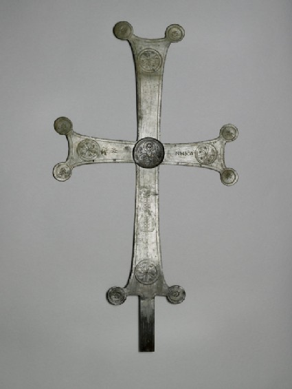 Processional cross with a medallion of St. Basil with Greek inscription