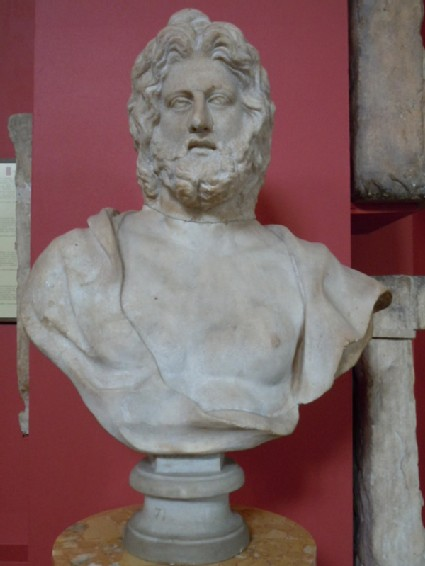 Roman head of Zeus on C17th bust
