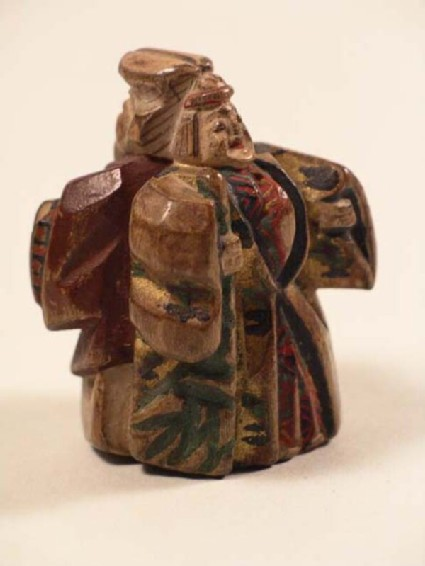 Netsuke in the form of back-to-back figures of Jō and Uba, the old couple from the Nō play, Takasago