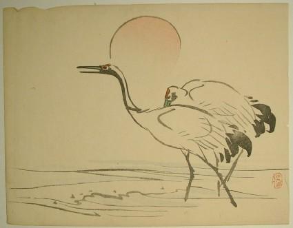 Crane and rising sun