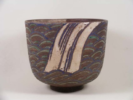Tea bowl with mon, or crest, waterfall, and waves