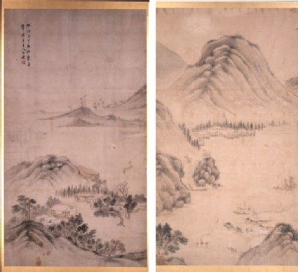Two-fold screen with Chinese landscape