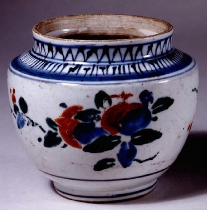 Jar with sprays of peony and pomegranate