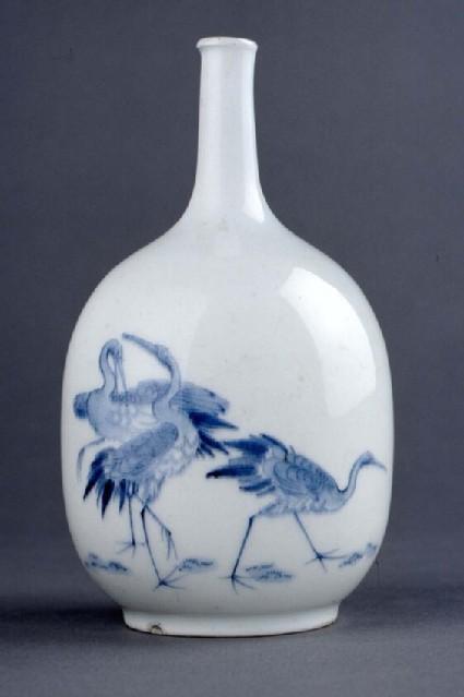 Sake bottle with four cranes