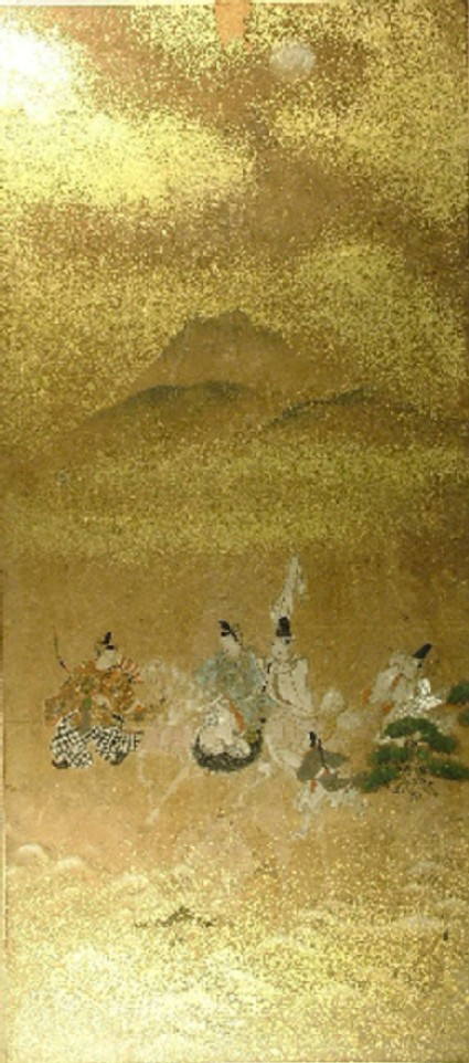 A nobleman on his horse with four attendants