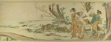 Three women approach a bridge near a stone lantern beneath blossoming cherry trees