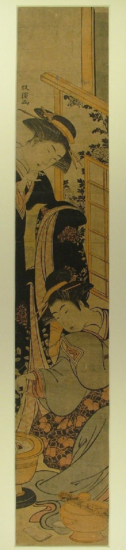 A girl in a figured black kimono speaking to her maid who tends a brazier