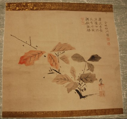 Hanging scroll of autumn leaves