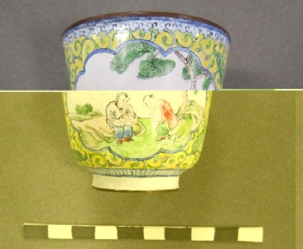 Cup with foot. Decoration of boys playing. Ch'ien Lung mark on the base