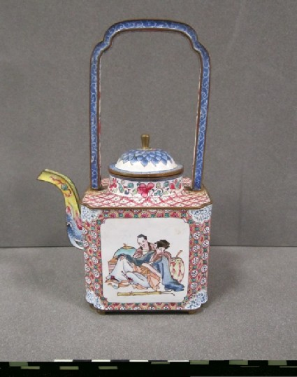 Square wine pot with curved spout, domed lid and basket handle. Decoration of figures and landscape