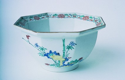 Bowl with bamboo, prunus trees, and cockerels