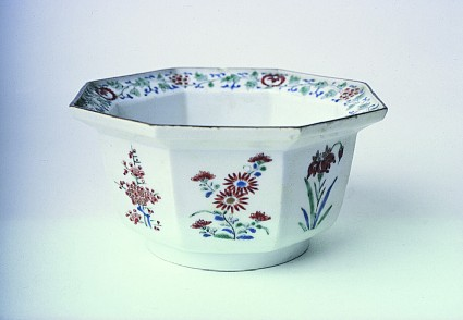 Octagonal bowl with flowering plants