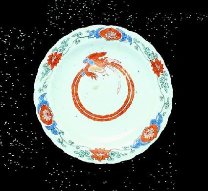 Saucer with ho-o bird and lotuses