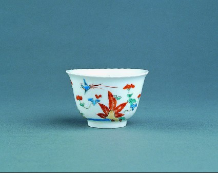 Cup with plants, flower sprays and pheasants