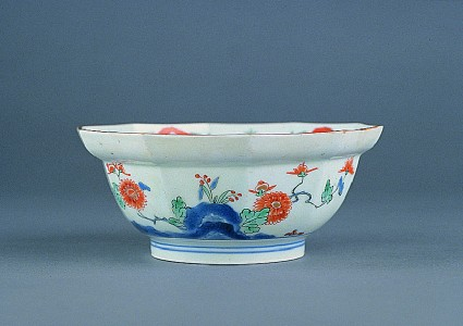 Decagonal bowl with flowers growing from rocks