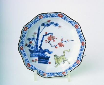 Saucer dish with tiger, bamboo and prunus