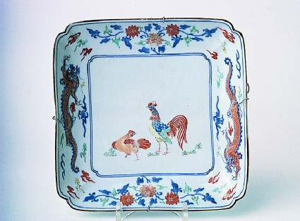 Square dish with a cock and hen, and border with dragons