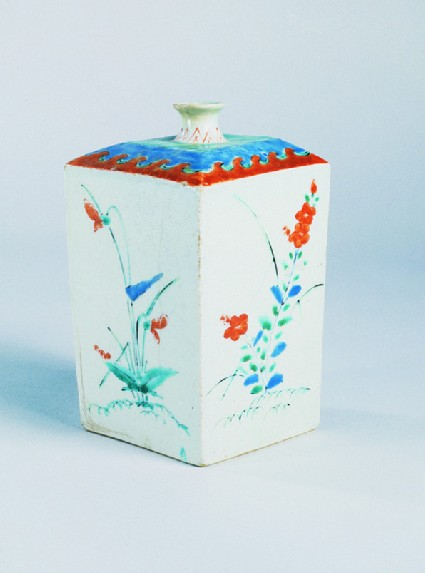 Square bottle with Chinese bellflowers, poppies, and wave shapes