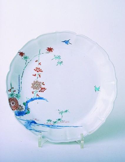 Plate with prunus, bamboo and chrysanthemum