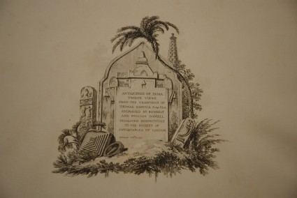 Engraved title page from Thomas and William Daniell's Antiquities of India