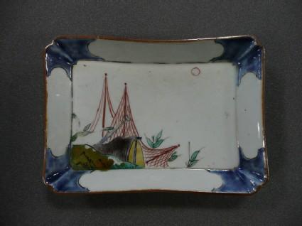 Rectangular shaped dish with fishing nets
