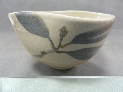 Tea bowl of irregular shape with design of yuzuri-ha (laurel leaf)
