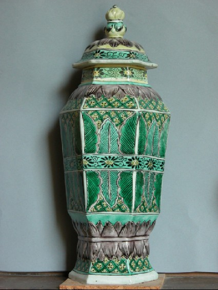 Hexagonal vase and cover