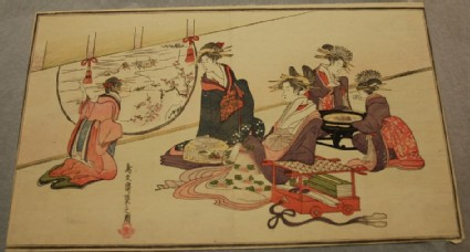 Courtesan and Attendants Viewing the Embankment Leading to the Yoshiwara