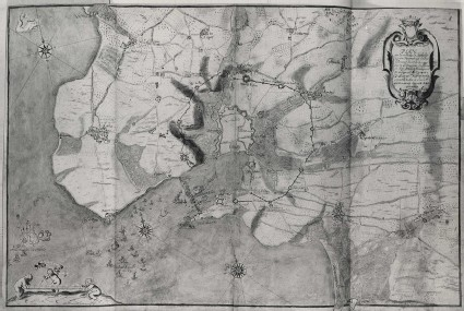 Map of La Rochelle and the surrounding District showing the naval Battles between the French and the English