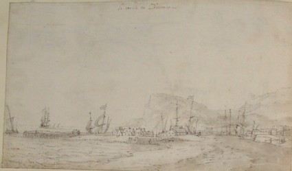 Recto: View of Dover Harbour<br />Verso: Slight sketch of a steep cliff with houses