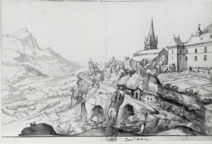 Recto: View of the Bishop's Palace and Gardens at Embrun (Ambrun)<br />Verso: View of Embrun