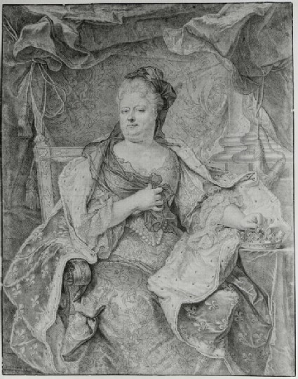 Portrait of Elisabeth-Charlotte, duchesse d'Orleans, seated with a crown under her left hand, after Rigaud