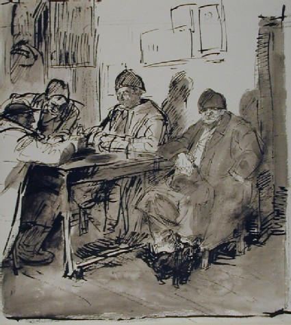 Recto: Four old Men seated at a Table 