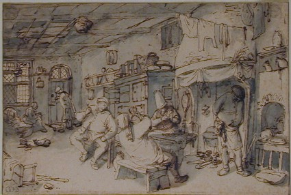 A farmhouse Kitchen with Peasants playing Cards
